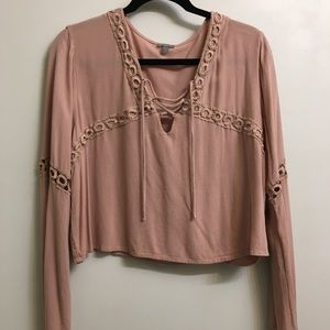 Blush-taupe peasant top with sleeve detailing